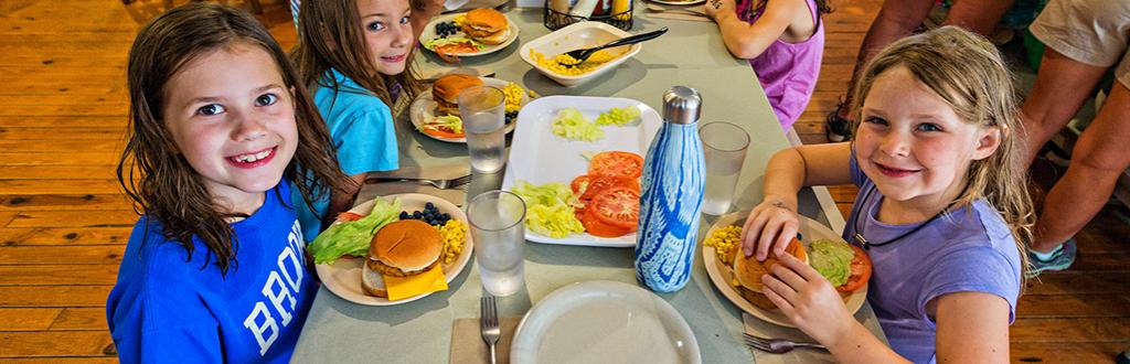 Camp Kanata Dining Hall, girls at lunch