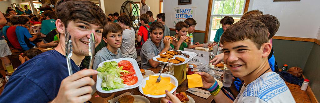 Camp Kanata Dining Hall, inside boys eating lunch